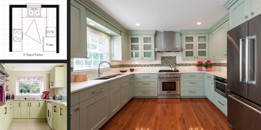 پلان کابینت آشپزخانه u شکل
